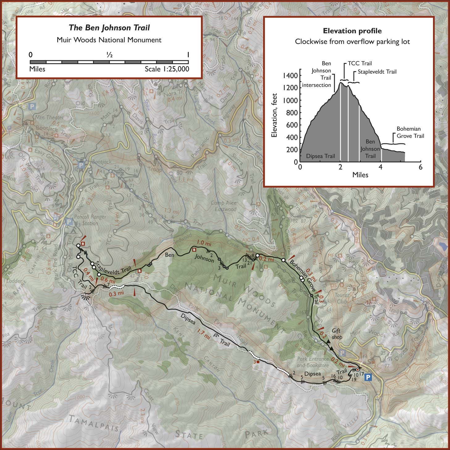 The Ben Johnson Trail Dipsea Trail Map on