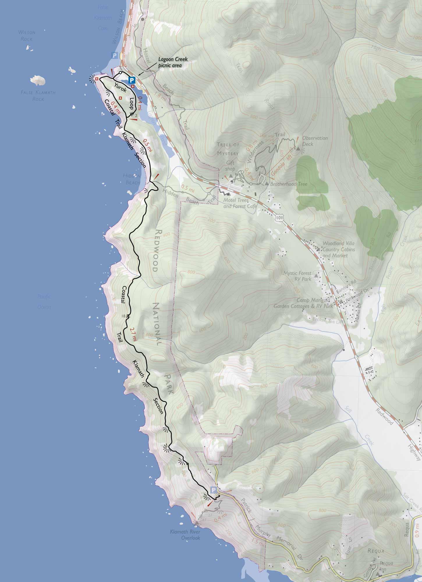 on california redwoods map