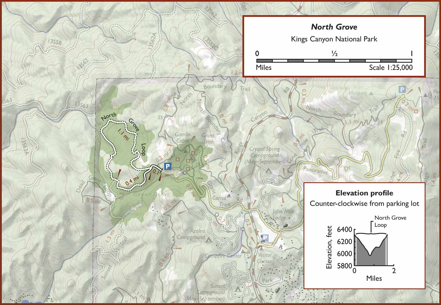 North Grove on california national parks map, giant sequoia national park map, kings canyon np map,