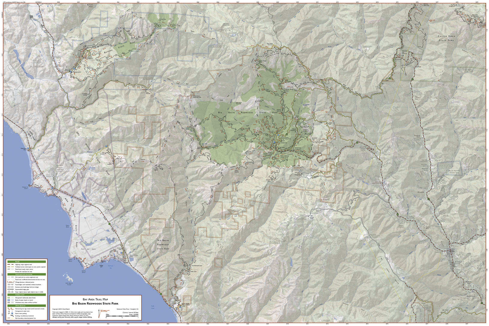 Bay Area Trail Map: Big Basin and Castle Rock