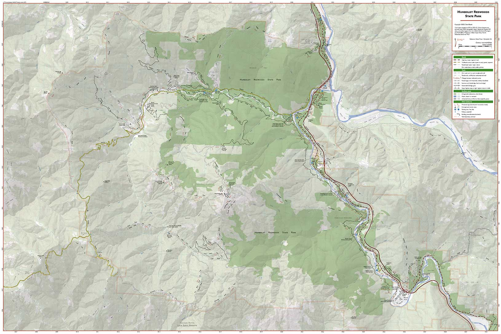 Humboldt Redwoods State Park trail map