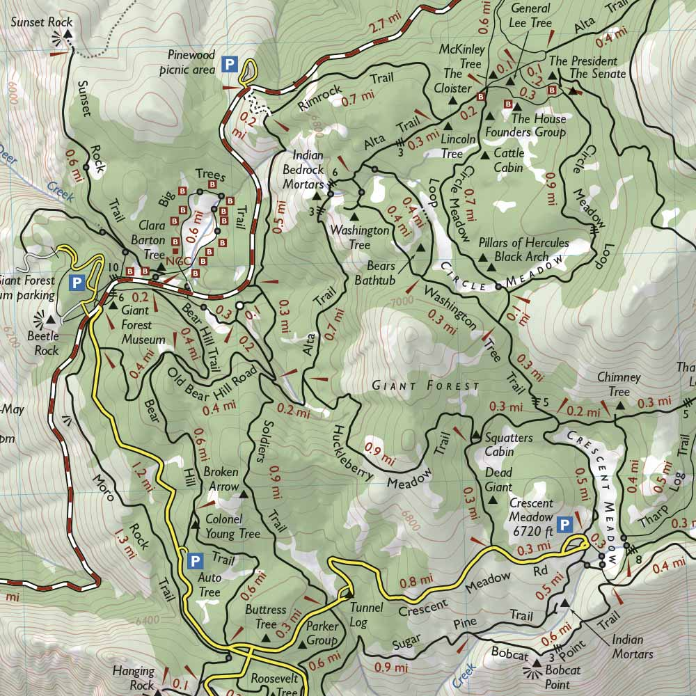. sequoia and kings canyon national park trail map